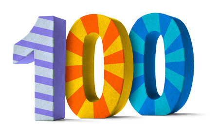 hundred: Colorful Paper Mache Number on a white background  - Number 100
