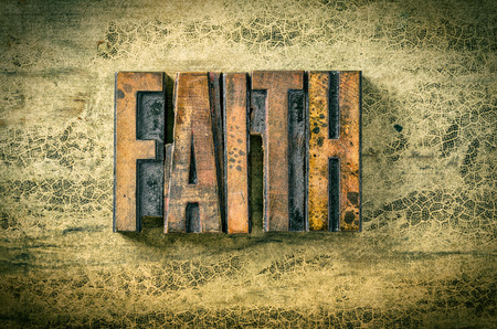 faithful: Antique letterpress wood type printing blocks - Faith