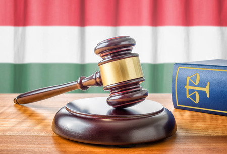 court: A gavel and a law book - Hungary Stock Photo