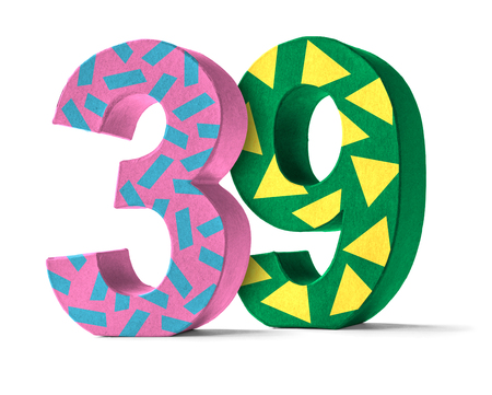 paper mache: Colorful Paper Mache Number on a white background  - Number 39
