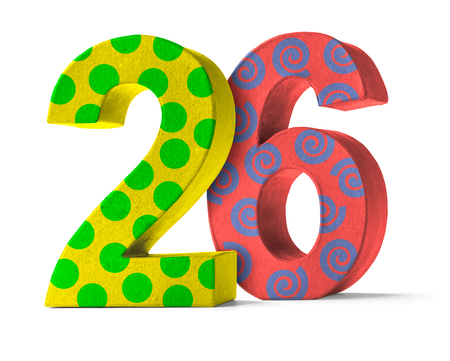 twenty six: Colorful Paper Mache Number on a white background  - Number 26 Stock Photo
