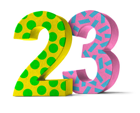 twenty: Colorful Paper Mache Number on a white background  - Number 23 Stock Photo