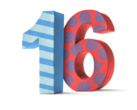 16: Colorful Paper Mache Number on a white background  - Number 16