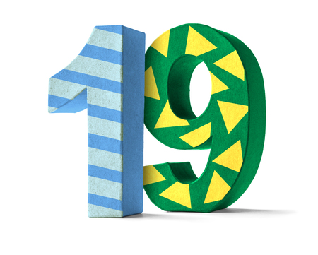 paper mache: Colorful Paper Mache Number on a white background  - Number 19