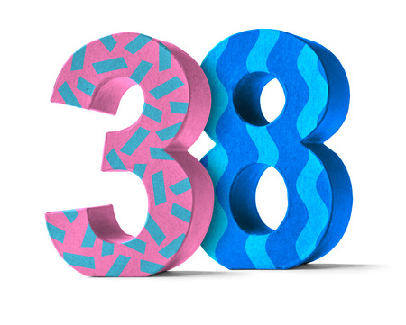 38: Colorful Paper Mache Number on a white background  - Number 38