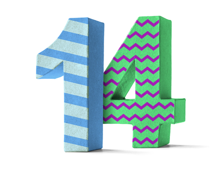 paper mache: Colorful Paper Mache Number on a white background  - Number 14
