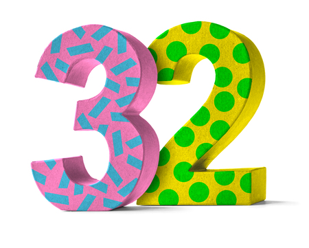 paper mache: Colorful Paper Mache Number on a white background  - Number 32