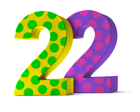 paper mache: Colorful Paper Mache Number on a white background  - Number 22 Stock Photo