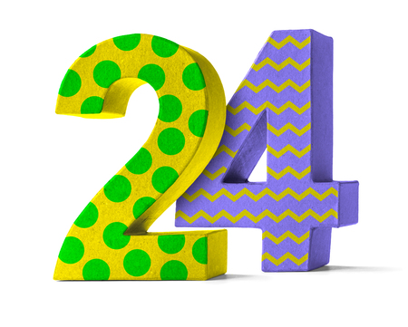 paper mache: Colorful Paper Mache Number on a white background  - Number 24 Stock Photo