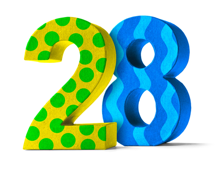 paper mache: Colorful Paper Mache Number on a white background  - Number 28