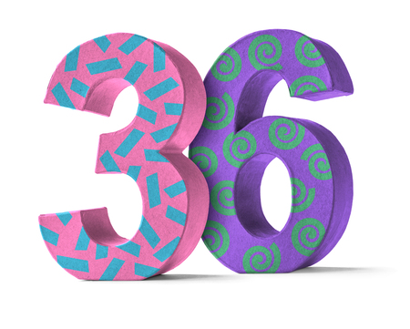 paper mache: Colorful Paper Mache Number on a white background  - Number 36 Stock Photo