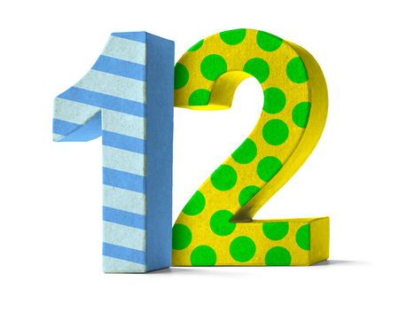 twelve: Colorful Paper Mache Number on a white background  - Number 12