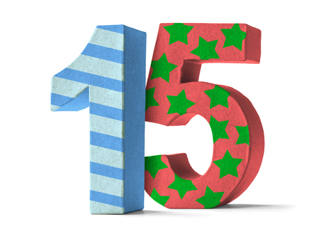 num�ros: Colorful Nombre papier m�ch� sur un fond blanc - Num�ro 15