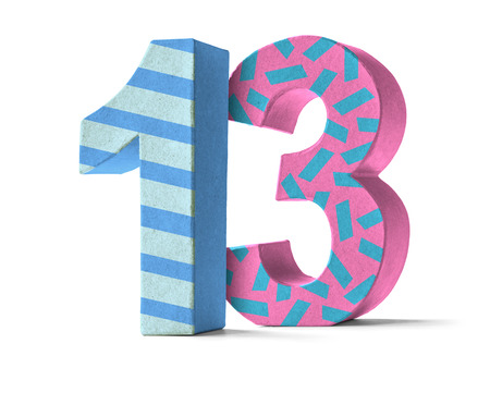 13: Colorful Paper Mache Number on a white background  - Number 13