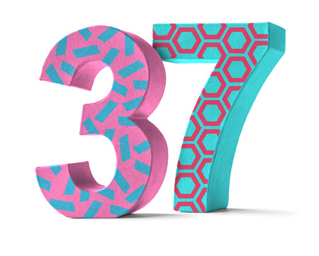 paper mache: Colorful Paper Mache Number on a white background  - Number 37