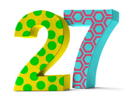 twenty: Colorful Paper Mache Number on a white background  - Number 27 Stock Photo