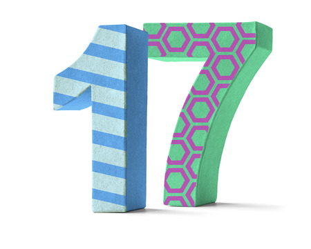 17: Colorful Paper Mache Number on a white background  - Number 17