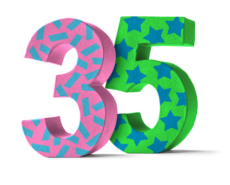 35: Colorful Paper Mache Number on a white background  - Number 35