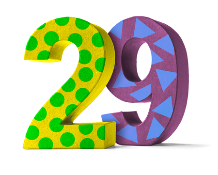 paper mache: Colorful Paper Mache Number on a white background  - Number 29