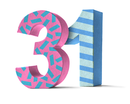 31: Colorful Paper Mache Number on a white background  - Number 31