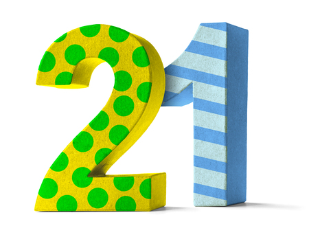 paper mache: Colorful Paper Mache Number on a white background  - Number 21