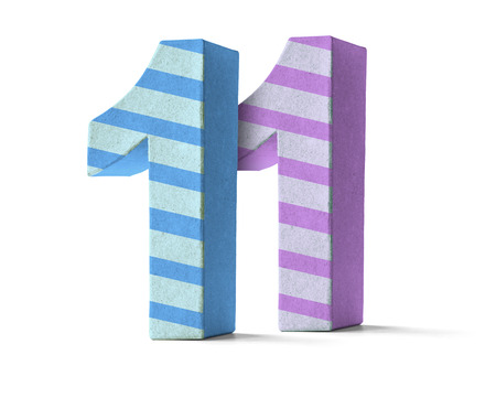 eleventh: Colorful Paper Mache Number on a white background  - Number 11