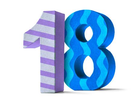 meses del año: Colorful Número Papel Mache sobre un fondo blanco - Número 18 Foto de archivo