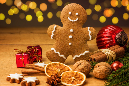 man nuts: A gingerbread man with Christmas decorations Stock Photo