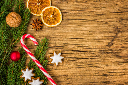 bakery products: Wooden background with christmas decorations and copy space