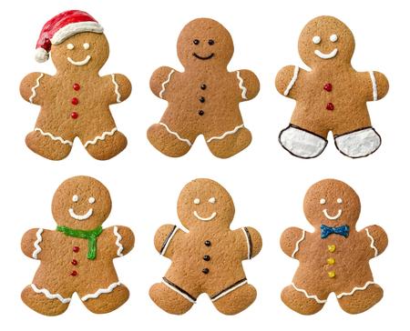 galletas de navidad: Colecci�n de varios hombres de jengibre en un fondo blanco