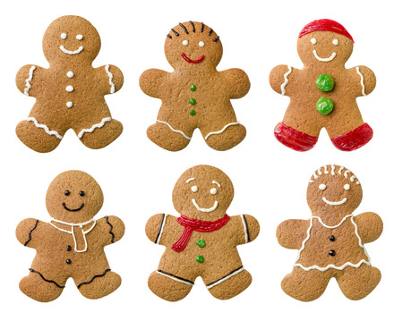 Collection of different gingerbread men on a white background Imagens