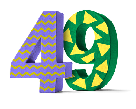 paper mache: Colorful Paper Mache Number on a white background  - Number 49 Stock Photo