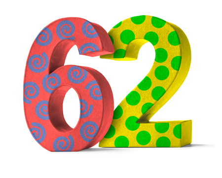 paper mache: Colorful Paper Mache Number on a white background  - Number 62