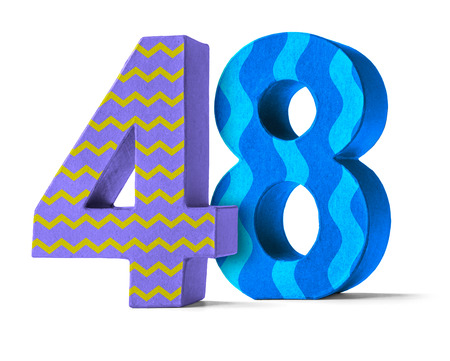 48: Colorful Paper Mache Number on a white background  - Number 48 Stock Photo