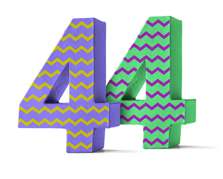 paper mache: Colorful Paper Mache Number on a white background  - Number 44