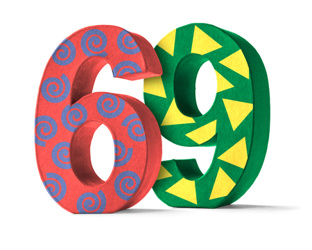 paper mache: Colorful Paper Mache Number on a white background  - Number 69