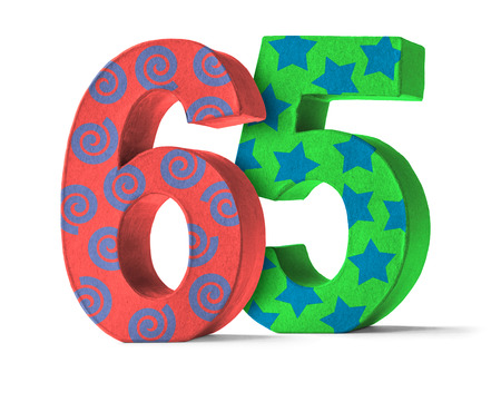65th: Colorful Paper Mache Number on a white background  - Number 65