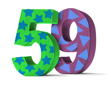 paper mache: Colorful Paper Mache Number on a white background  - Number 59 Stock Photo