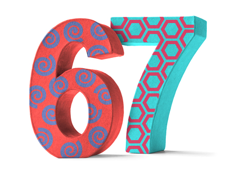 paper mache: Colorful Paper Mache Number on a white background  - Number 67