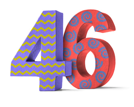 paper mache: Colorful Paper Mache Number on a white background  - Number 46 Stock Photo