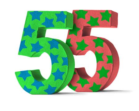 felicitaciones cumpleaÑos: Número colorido papel maché sobre un fondo blanco - Número 55 Foto de archivo