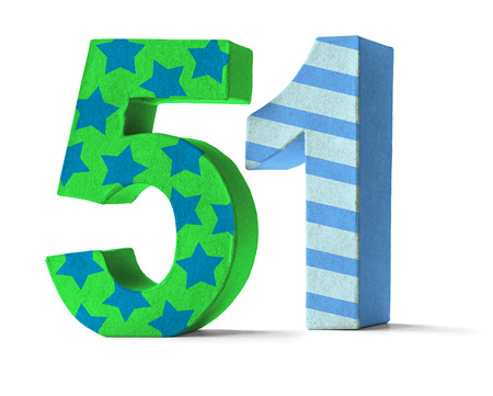 paper mache: Colorful Paper Mache Number on a white background  - Number 51