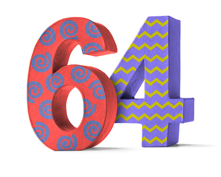 paper mache: Colorful Paper Mache Number on a white background  - Number 64