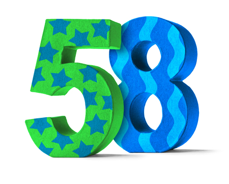 paper mache: Colorful Paper Mache Number on a white background  - Number 58