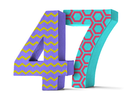 paper mache: Colorful Paper Mache Number on a white background  - Number 47