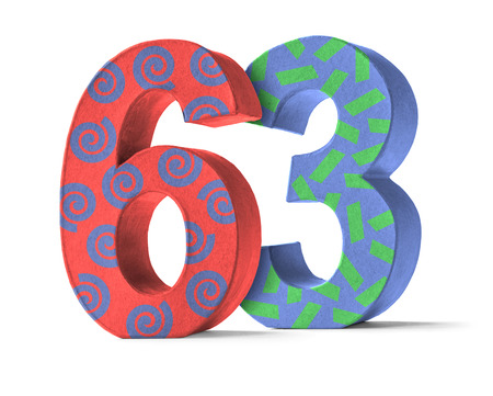 paper mache: Colorful Paper Mache Number on a white background  - Number 63