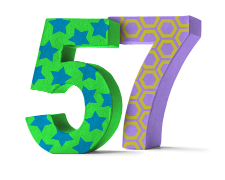 paper mache: Colorful Paper Mache Number on a white background  - Number 57