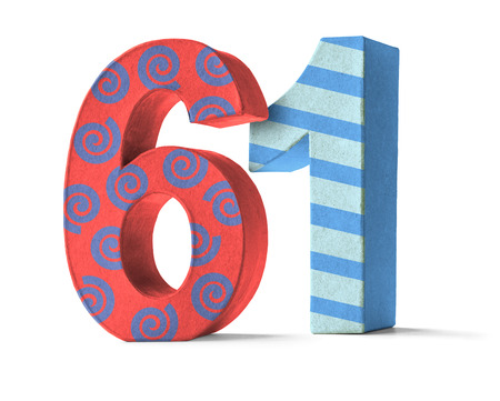 paper mache: Colorful Paper Mache Number on a white background  - Number 61