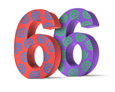 paper mache: Colorful Paper Mache Number on a white background  - Number 66 Stock Photo