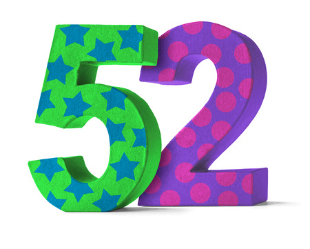 paper mache: Colorful Paper Mache Number on a white background  - Number 52